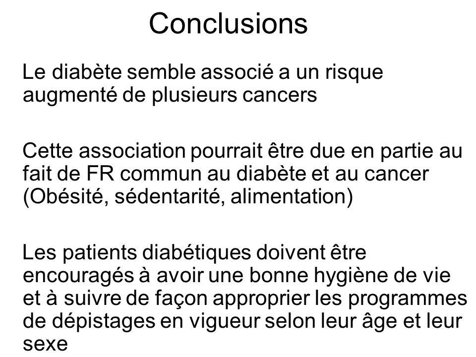 Conclusions Le diabète semble associé a un risque augmenté de plusieurs cancers.