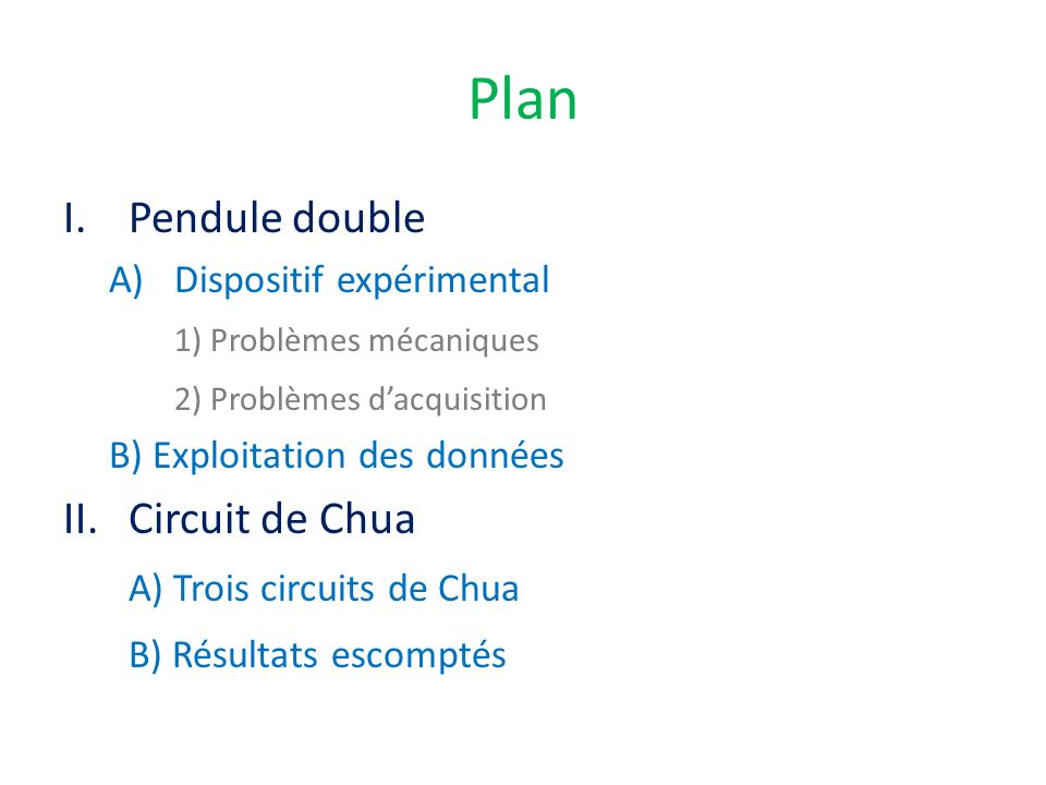 Plan Pendule double Circuit de Chua A) Trois circuits de Chua