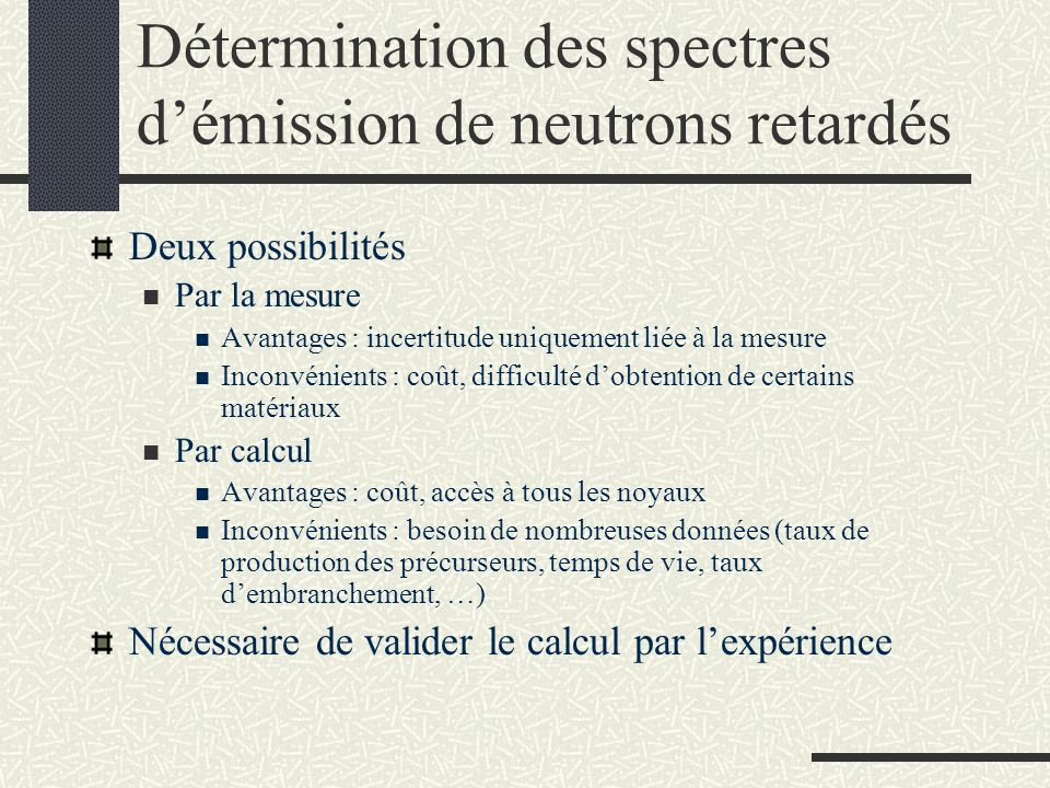 Détermination des spectres d'émission de neutrons retardés