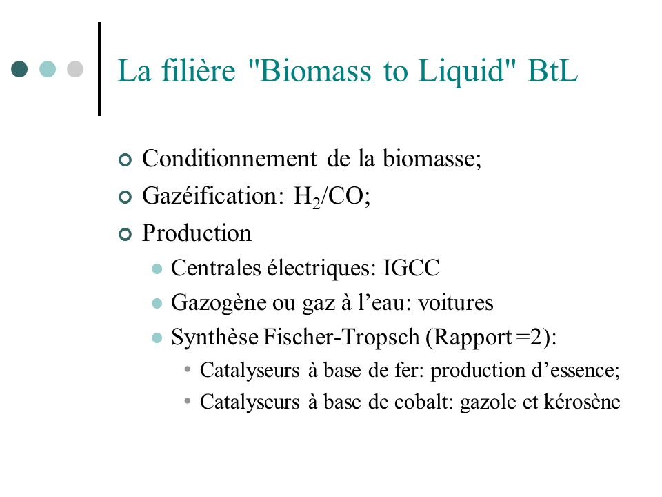 La filière Biomass to Liquid BtL
