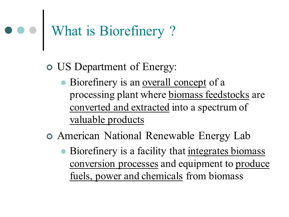 What is Biorefinery US Department of Energy: