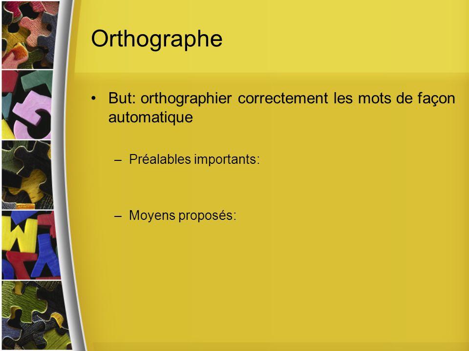 Orthographe But: orthographier correctement les mots de façon automatique.