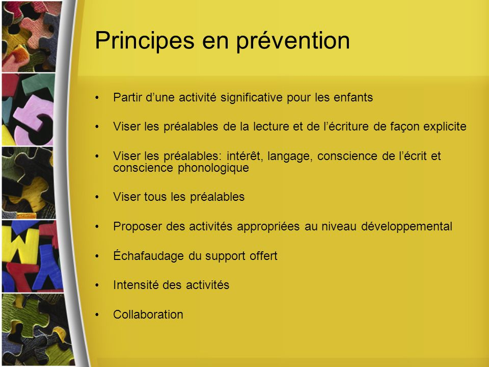 Principes en prévention