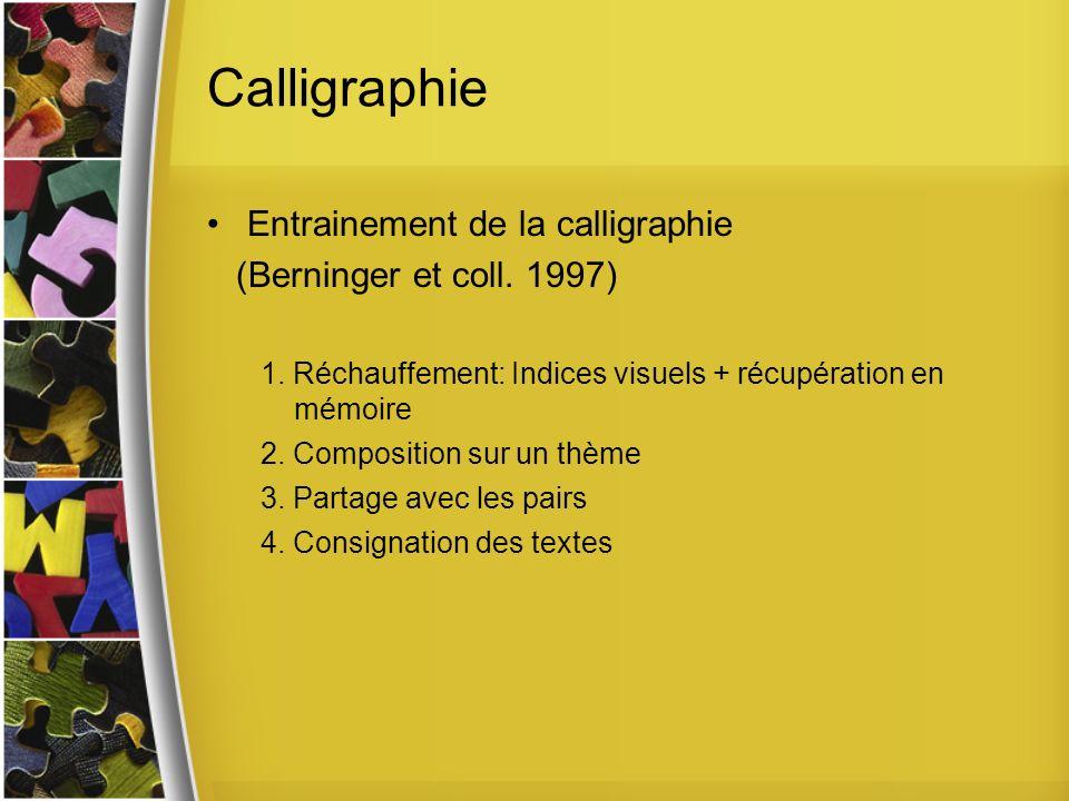 Calligraphie Entrainement de la calligraphie (Berninger et coll. 1997)