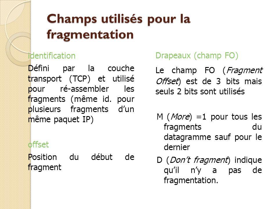 Champs utilisés pour la fragmentation