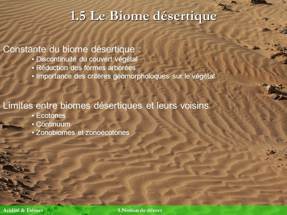 1.5 Le Biome désertique Constante du biome désertique :