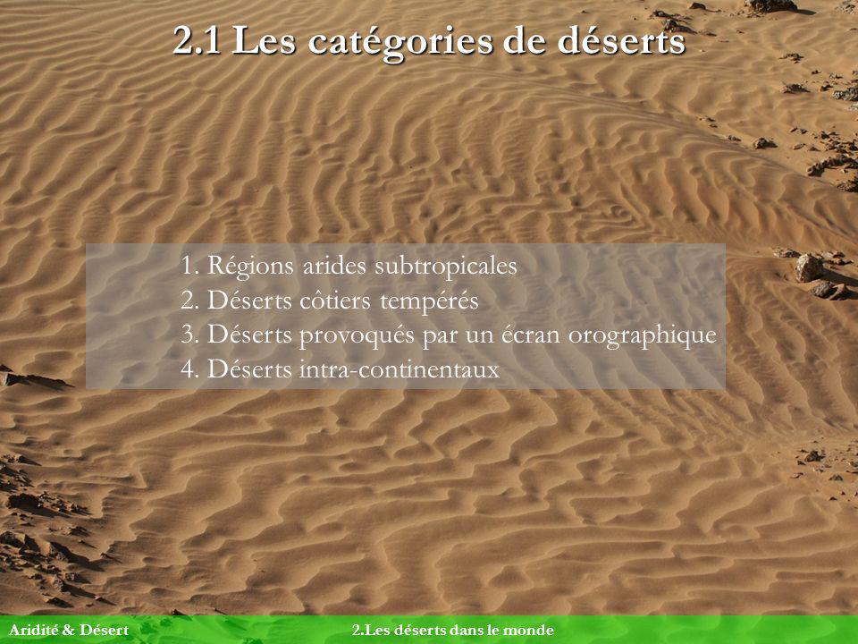 2.1 Les catégories de déserts