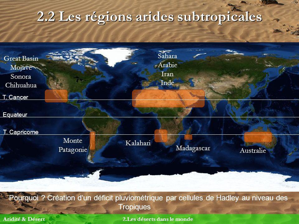 2.2 Les régions arides subtropicales