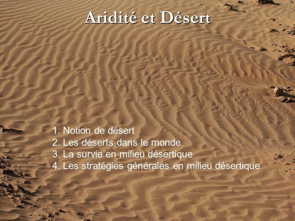Aridité et Désert 1. Notion de désert 2. Les déserts dans le monde