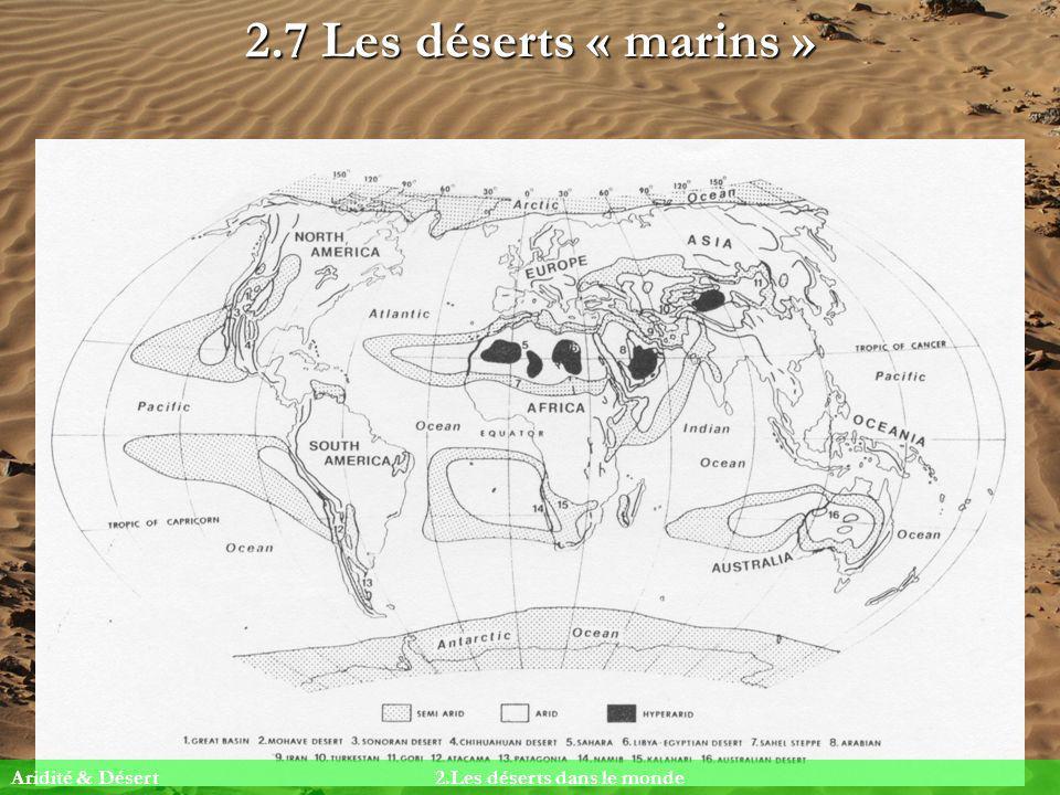 2.7 Les déserts « marins » Aridité & Désert 2.Les déserts dans le monde