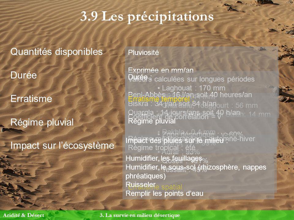 3.9 Les précipitations Quantités disponibles Durée Erratisme