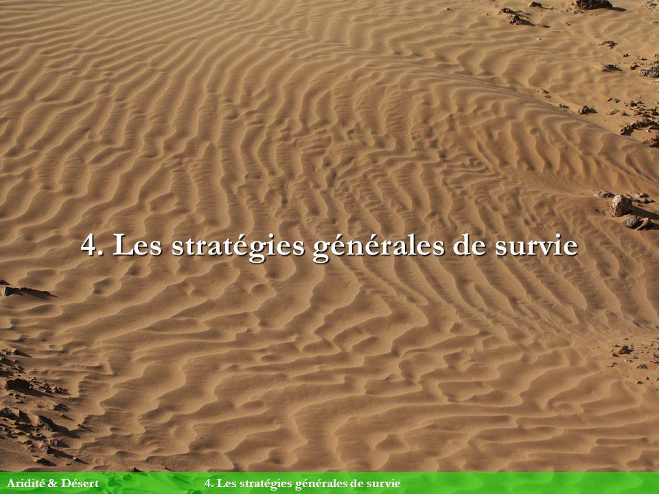 4. Les stratégies générales de survie