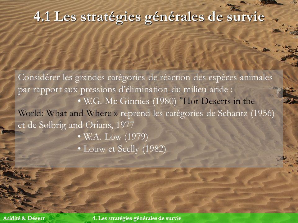 4.1 Les stratégies générales de survie