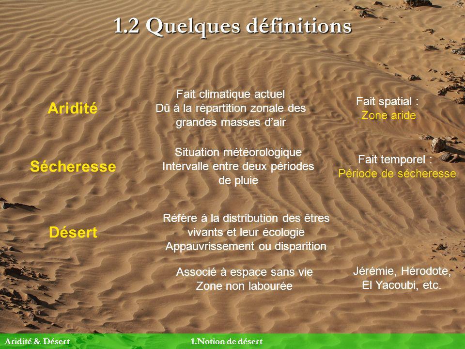 1.2 Quelques définitions Aridité Sécheresse Désert