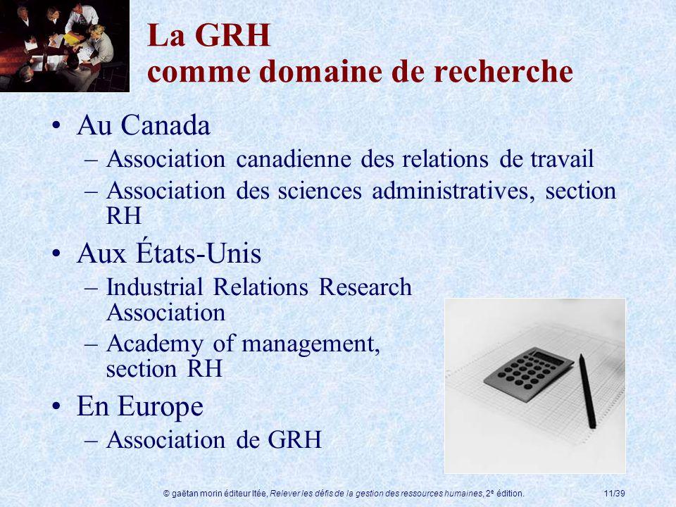 La GRH comme domaine de recherche