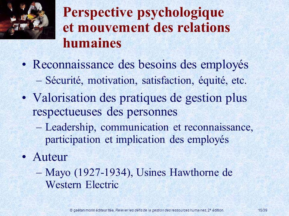 Perspective psychologique et mouvement des relations humaines