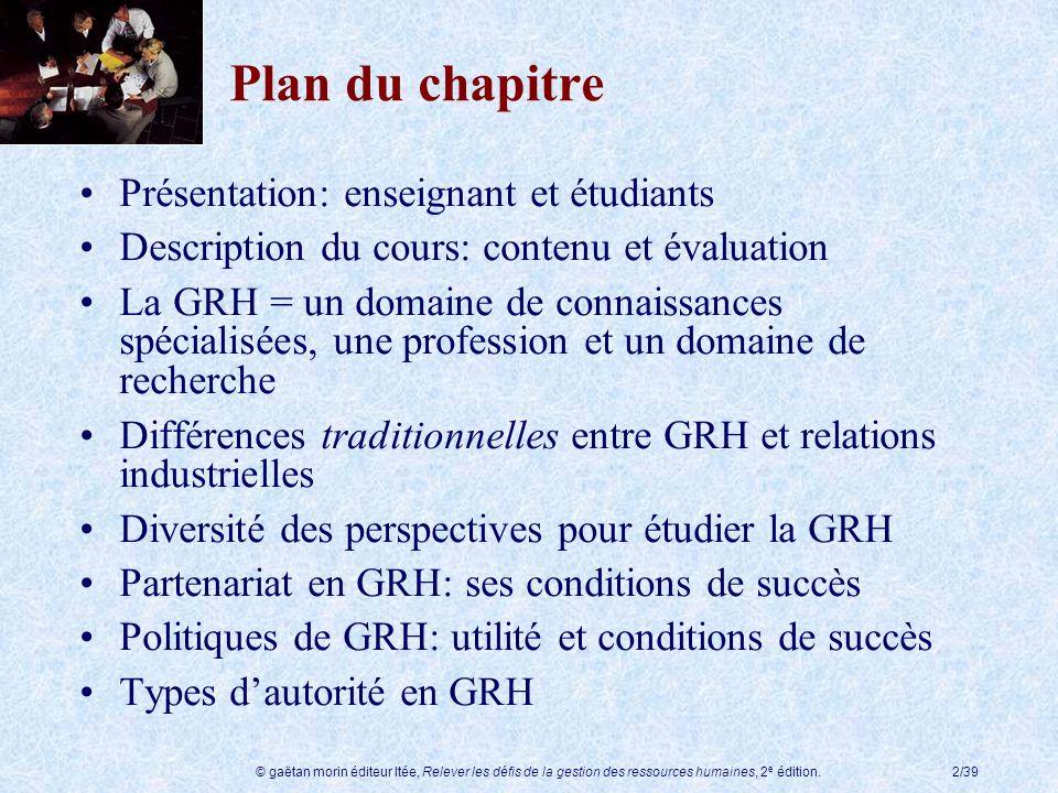 Plan du chapitre Présentation: enseignant et étudiants