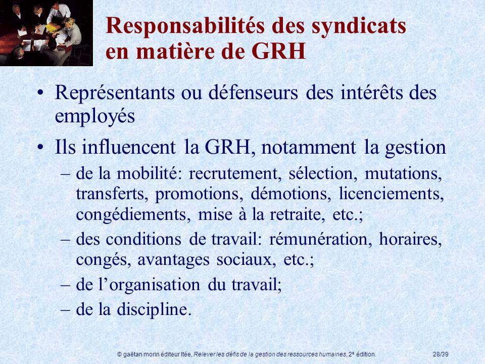 Responsabilités des syndicats en matière de GRH