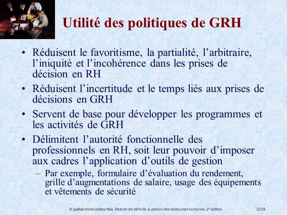 Utilité des politiques de GRH