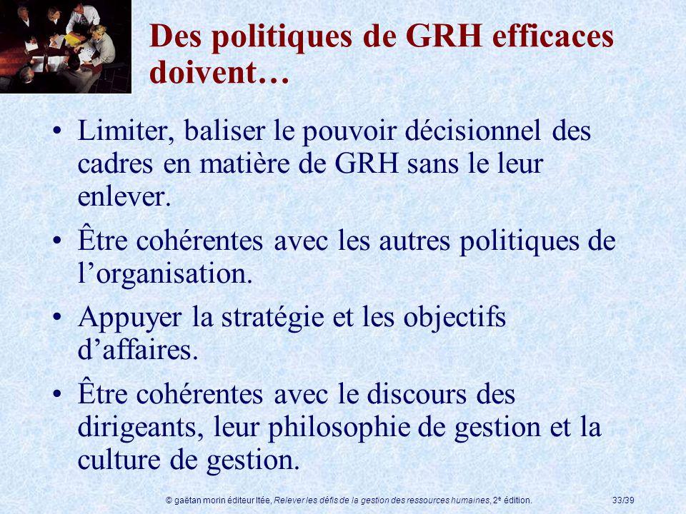 Des politiques de GRH efficaces doivent…