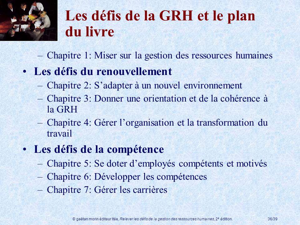 Les défis de la GRH et le plan du livre