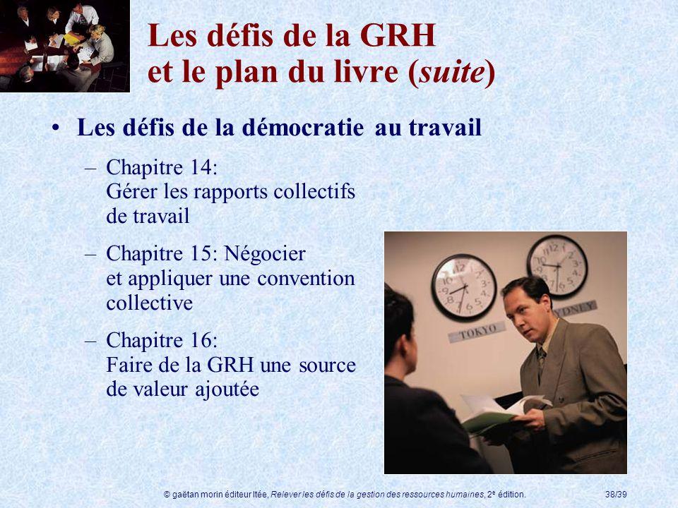 Les défis de la GRH et le plan du livre (suite)