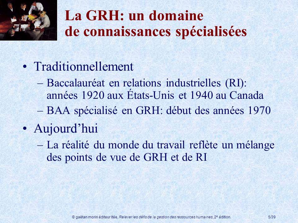 La GRH: un domaine de connaissances spécialisées