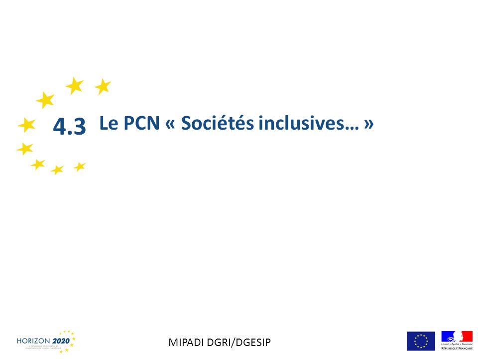 4.3 Le PCN « Sociétés inclusives… » MIPADI DGRI/DGESIP