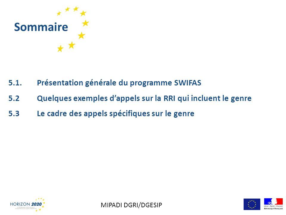 Sommaire 5.1. Présentation générale du programme SWIFAS