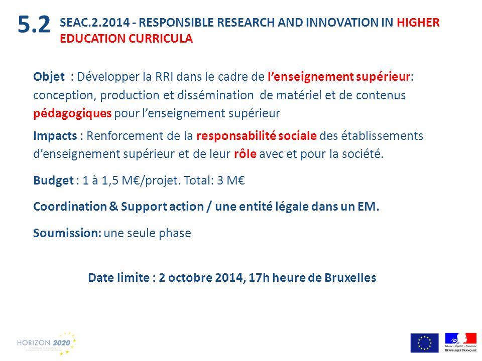 Date limite : 2 octobre 2014, 17h heure de Bruxelles