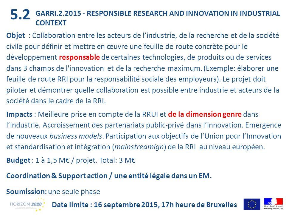 Date limite : 16 septembre 2015, 17h heure de Bruxelles