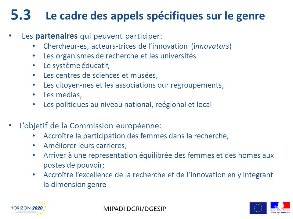 5.3 Le cadre des appels spécifiques sur le genre