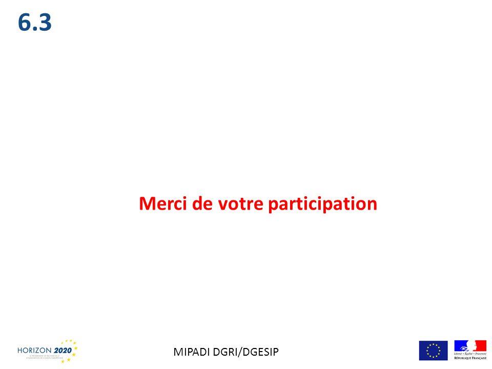 6.3 Merci de votre participation MIPADI DGRI/DGESIP