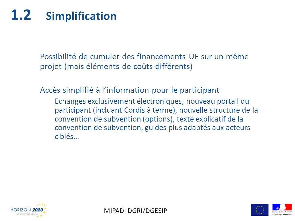 1.2 Simplification. Possibilité de cumuler des financements UE sur un même projet (mais éléments de coûts différents)