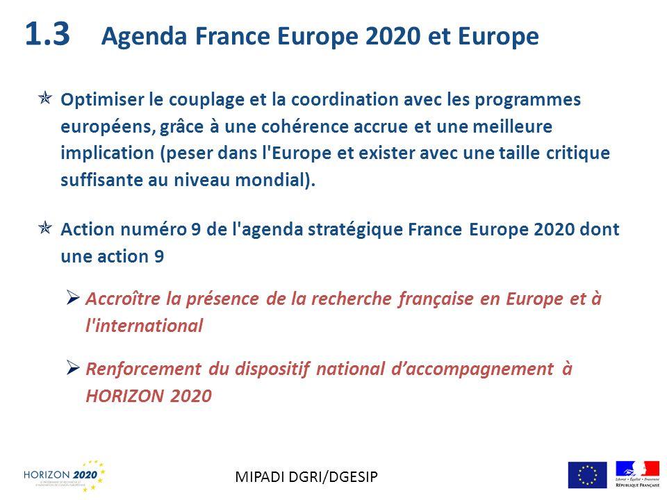1.3 Agenda France Europe 2020 et Europe