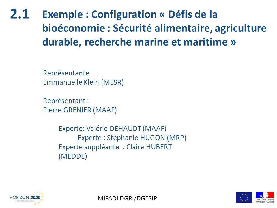 2.1 Exemple : Configuration « Défis de la bioéconomie : Sécurité alimentaire, agriculture durable, recherche marine et maritime »