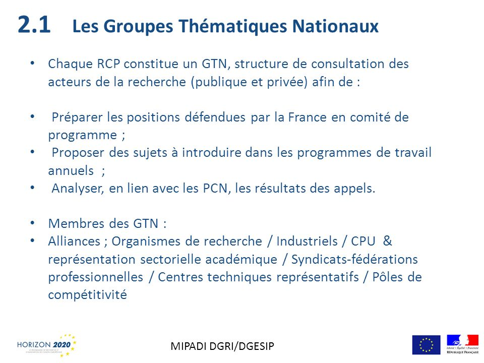 2.1 Les Groupes Thématiques Nationaux