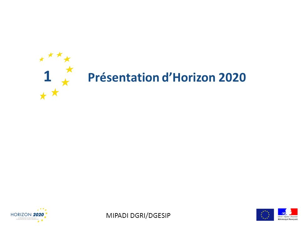 1 Présentation d'Horizon 2020 MIPADI DGRI/DGESIP