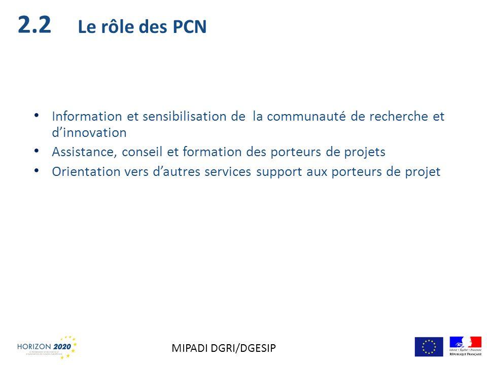 2.2 Le rôle des PCN. Information et sensibilisation de la communauté de recherche et d'innovation.