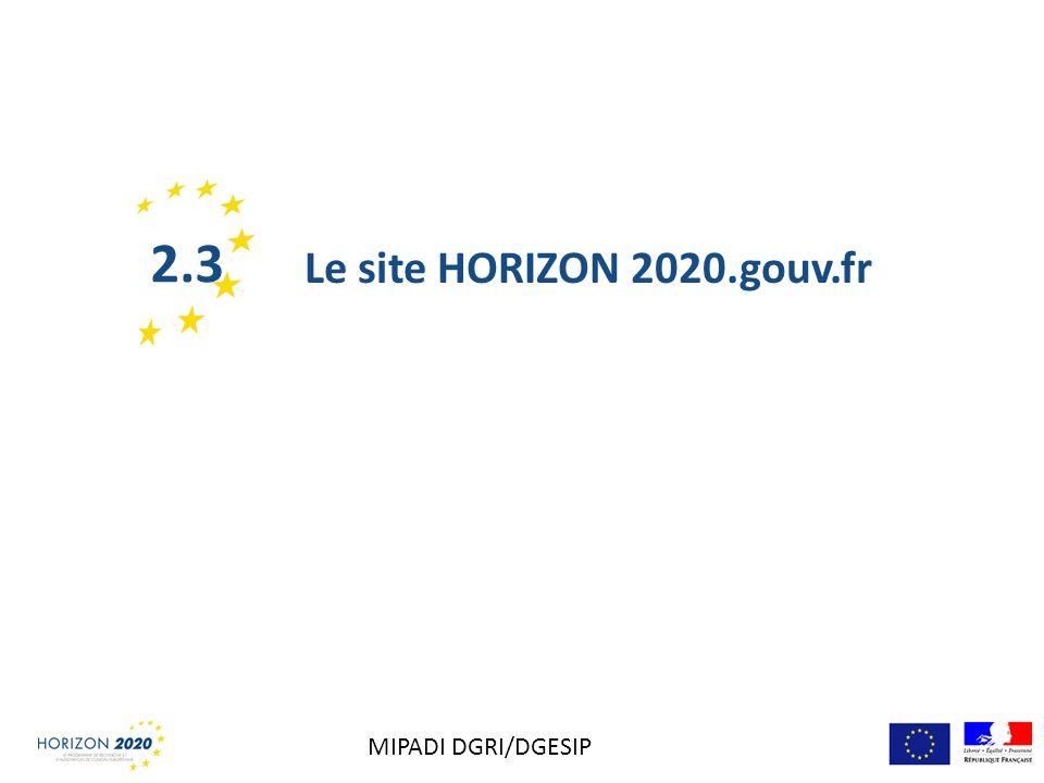 2.3 Le site HORIZON 2020.gouv.fr MIPADI DGRI/DGESIP