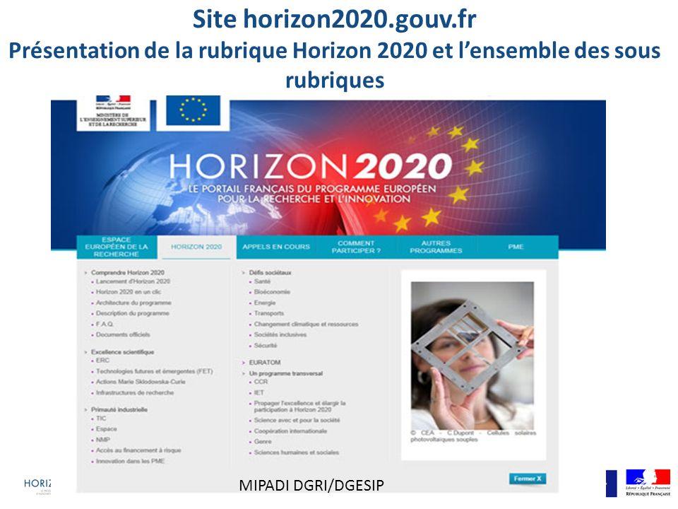 Site horizon2020.gouv.fr Présentation de la rubrique Horizon 2020 et l'ensemble des sous rubriques