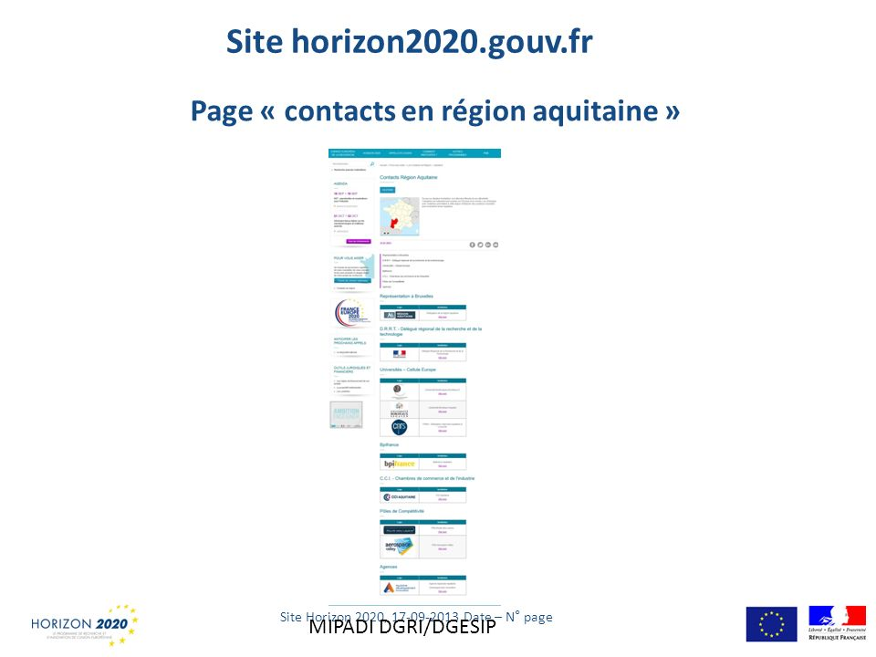 Site Horizon 2020, 17-09-2013 Date – N° page