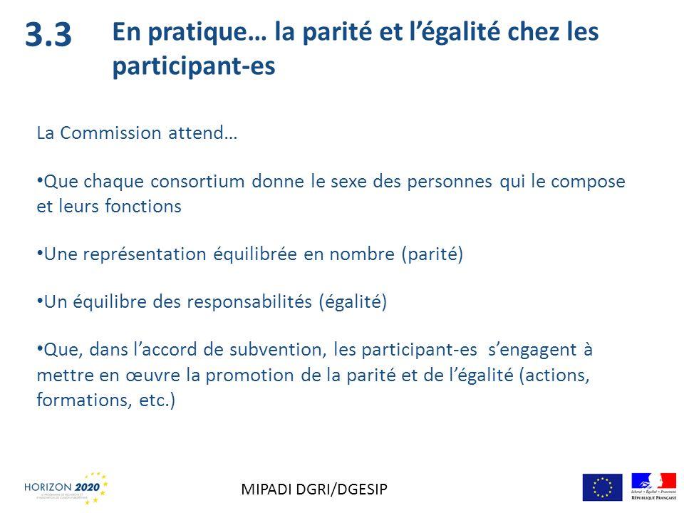 3.3 En pratique… la parité et l'égalité chez les participant-es