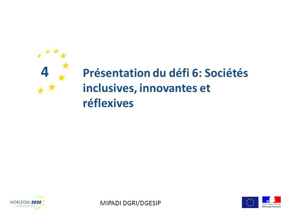 4 Présentation du défi 6: Sociétés inclusives, innovantes et réflexives MIPADI DGRI/DGESIP