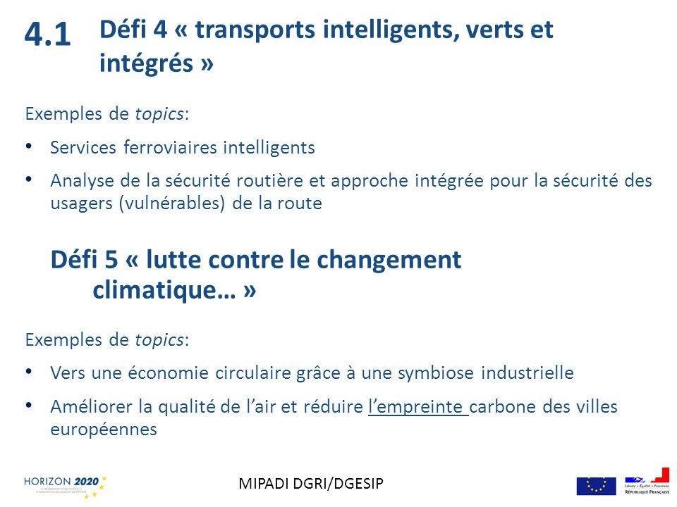 4.1 Défi 4 « transports intelligents, verts et intégrés »