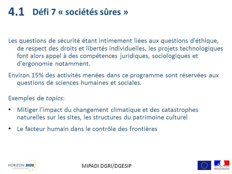 4.1 Défi 7 « sociétés sûres »