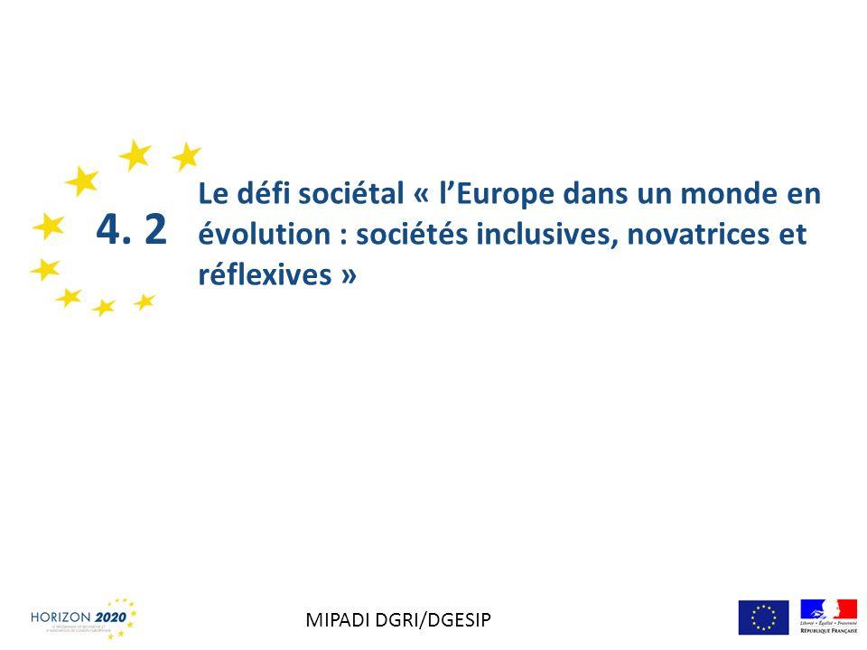 Le défi sociétal « l'Europe dans un monde en évolution : sociétés inclusives, novatrices et réflexives »