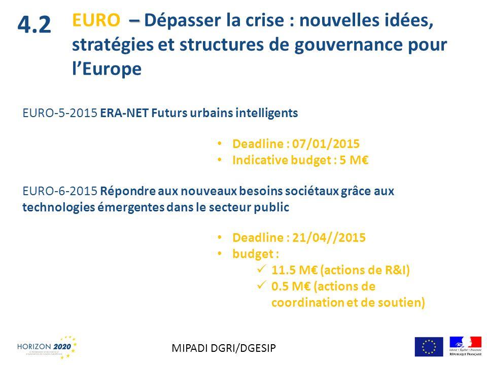 4.2 EURO – Dépasser la crise : nouvelles idées, stratégies et structures de gouvernance pour l'Europe.