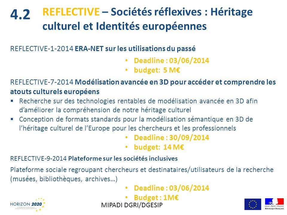 4.2 REFLECTIVE – Sociétés réflexives : Héritage culturel et Identités européennes. REFLECTIVE-1-2014 ERA-NET sur les utilisations du passé.