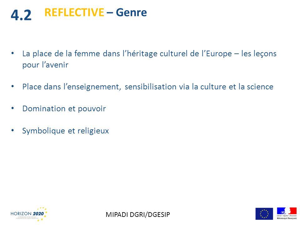 4.2 REFLECTIVE – Genre. La place de la femme dans l'héritage culturel de l'Europe – les leçons pour l'avenir.